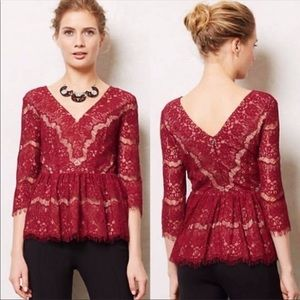 Anthropologie Maeve Red Needle Lace Peplum Top